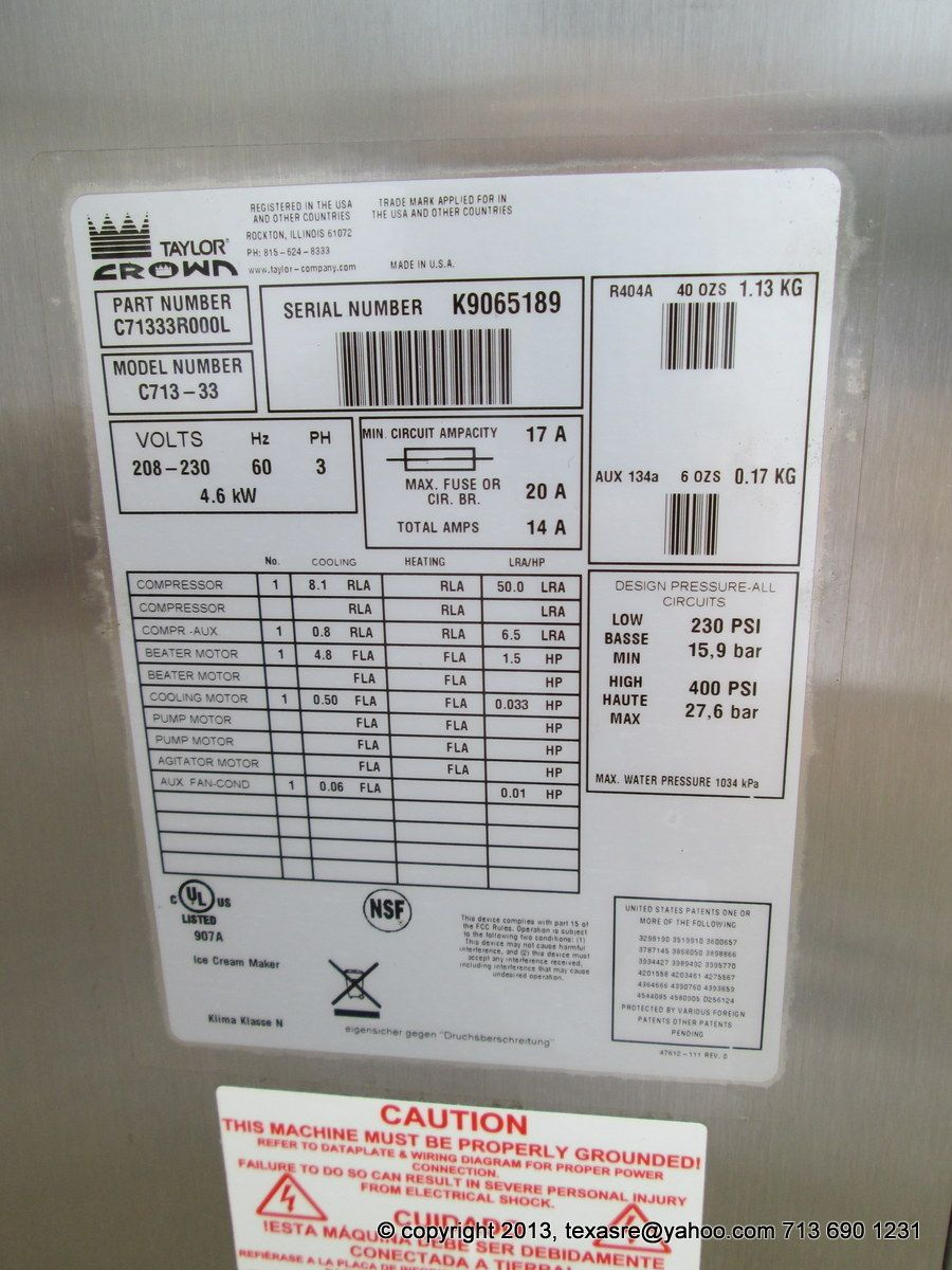 Taylor Soft Serve Wiring Diagram And Schematics Commercial Ice Machine Model C723taylor Freezer Of Michigan Source 56236